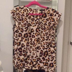 Leopard flutter sleeve blouse